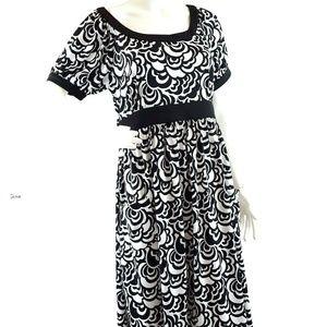 Tahari Dress Knit Jersey Puff Sleeve Loose Pockets